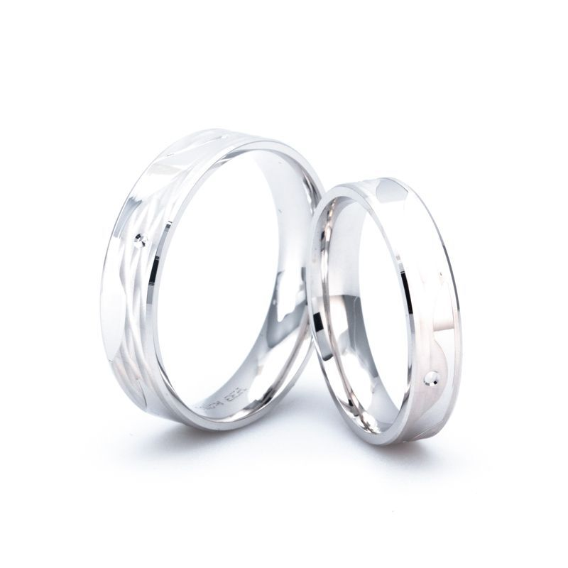 Rubicon Couple Rings Band Shadow Carving Craft
