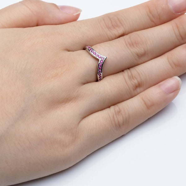V Shape Pave Setting Rose Sapphire Wedding Bands