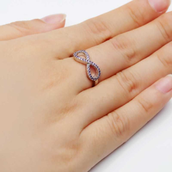 Infinity Cluster setting Light Purple Sapphire Round Cut Wedding Band
