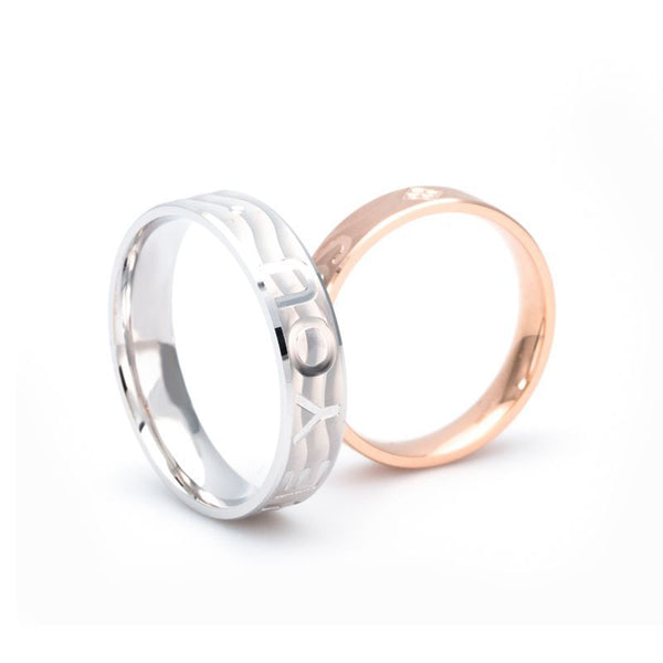 Sparkling Love Couple Rings Wedding Bands