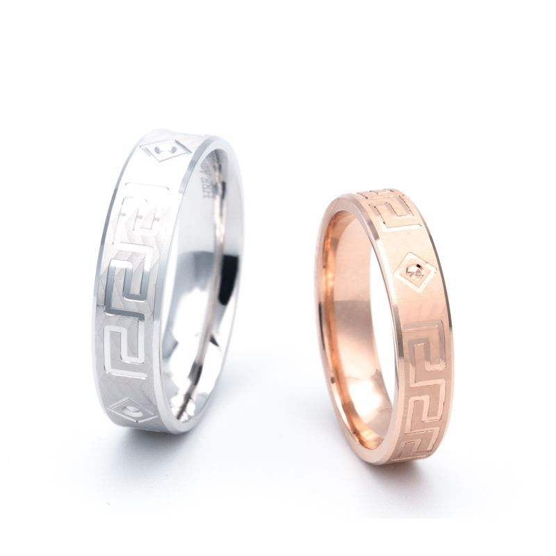 Great Wall Couple Rings Wedding Band Shadow Carving Craft