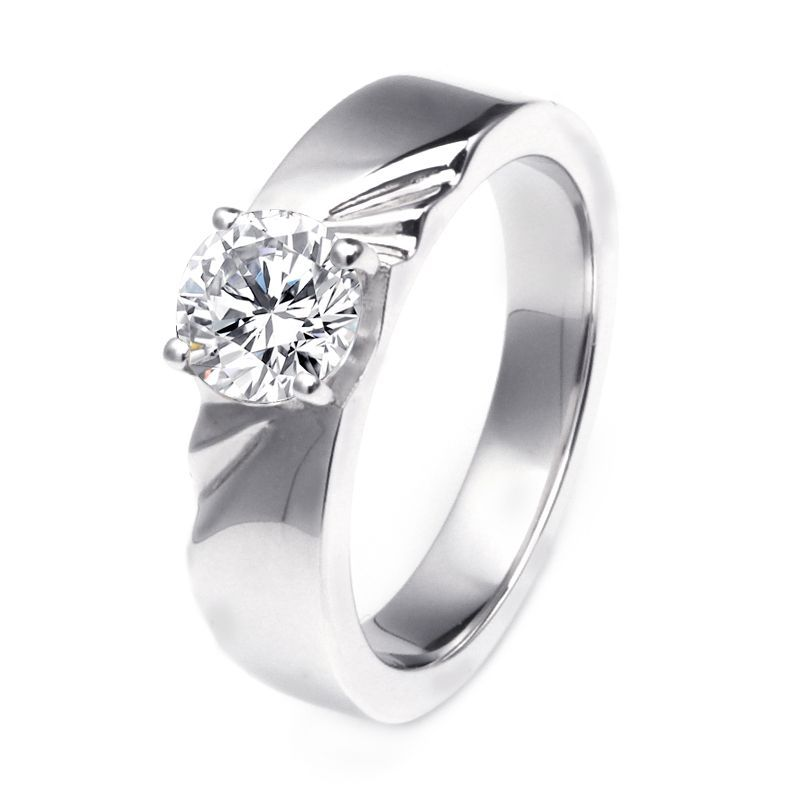 Plicated Round Brilliant-cut Wedding Band For Him