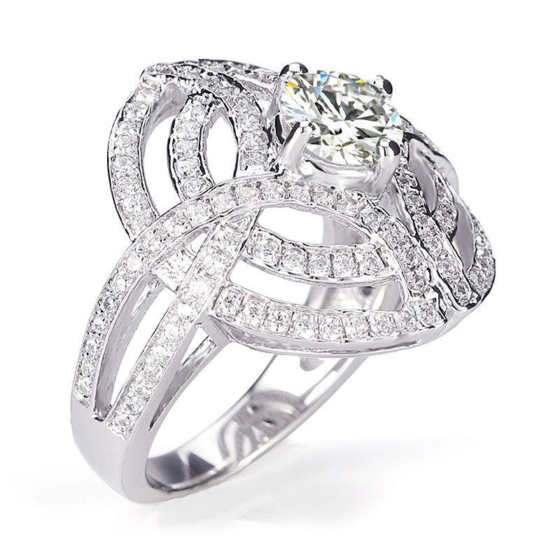 Fashion Luxury Interlaced Hollow Round Brilliant-cut White Created Sapphire Engagement Ring