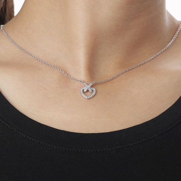 Cross Hollow Halo Heart Brilliant-cut Created White Sapphire Necklace