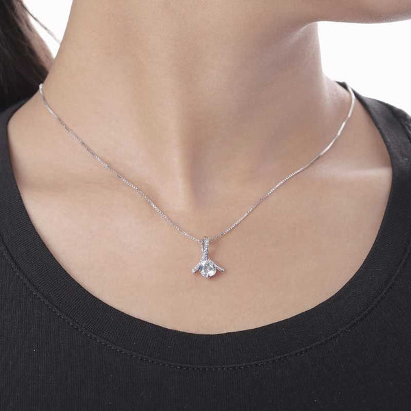 Two Prong Setting 1.0ct Round Brilliant-cut Necklace