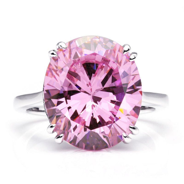 5.0CT Pink Oval Cut Created Sapphire Cocktail Ring