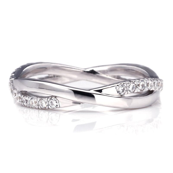 Heart Claw Setting White Sapphire Infinity Band Sterling Silver Wedding Set