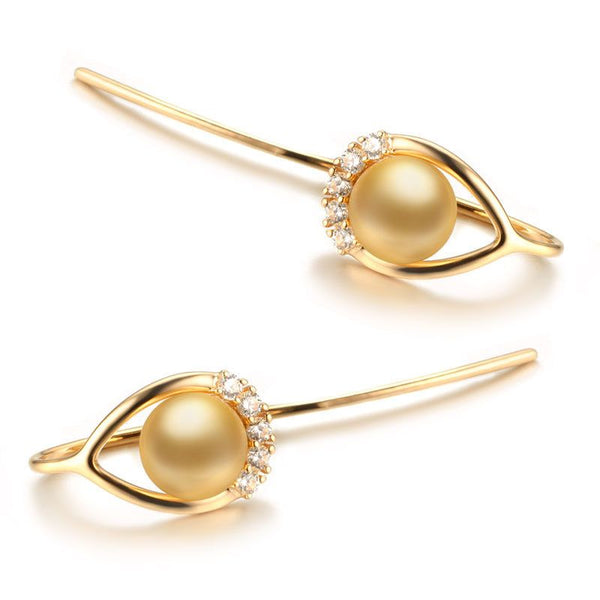 14K Rose Gold Natural Pearl And Moissanite Hoop Earrings For Womens