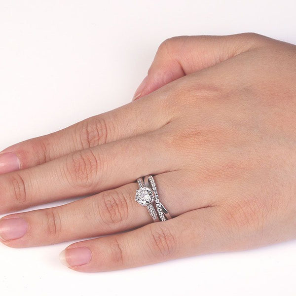 Six Claws Setting Round-cut Created White Sapphire Infinity Band Sterling Silver Wedding Set