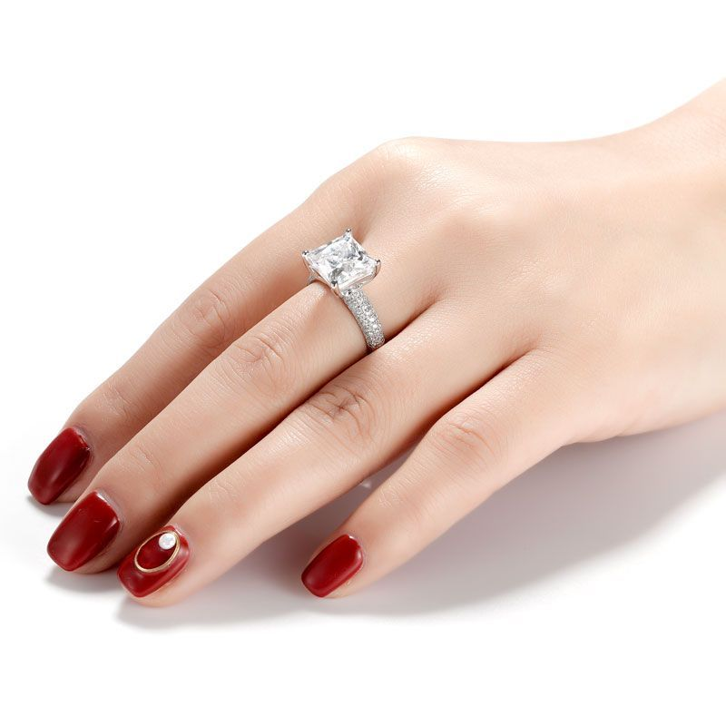 Classic Princess Cut Pave Setting Ring