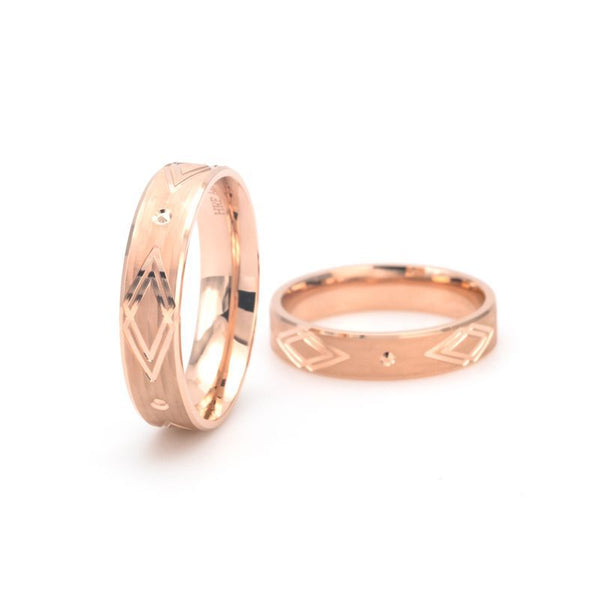 Arrow Band Shadow Carving Craft Couple Rings
