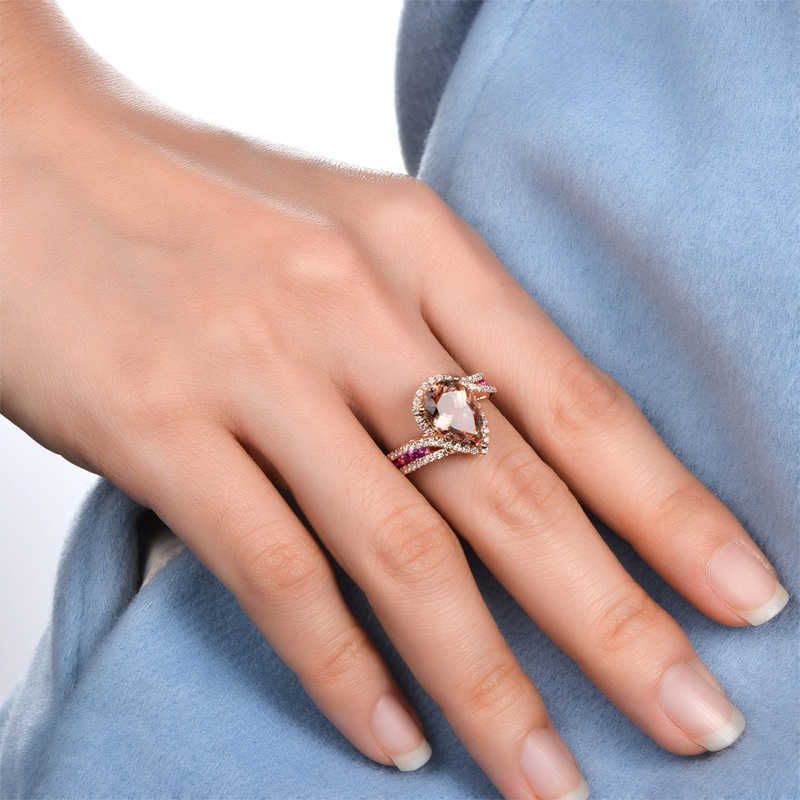 Halo Bypass Pear Cut Rose Gold Tone Sterling Silver Ring