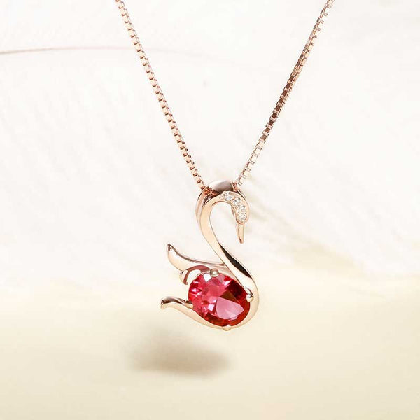 Swan Red Sapphire Grace Simple Fashion Necklace