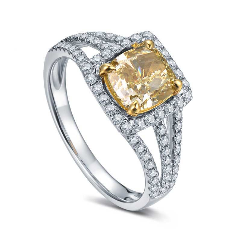 Halo Cushion Cut Yellow Shappire Shlit Tiga Line Engagement Rings For Women