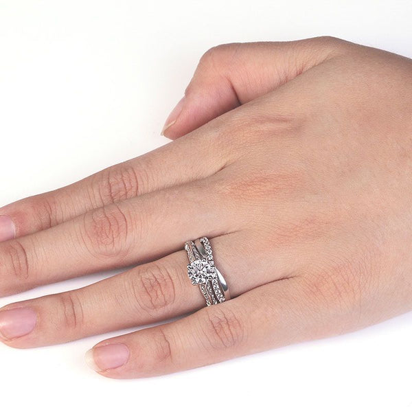 Four Claws Round Brilliant-cut Created White Sapphire Infinity Band Sterling Silver Bridal Set