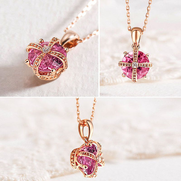 Rose Gold Plating Classic Crown Charm Necklace