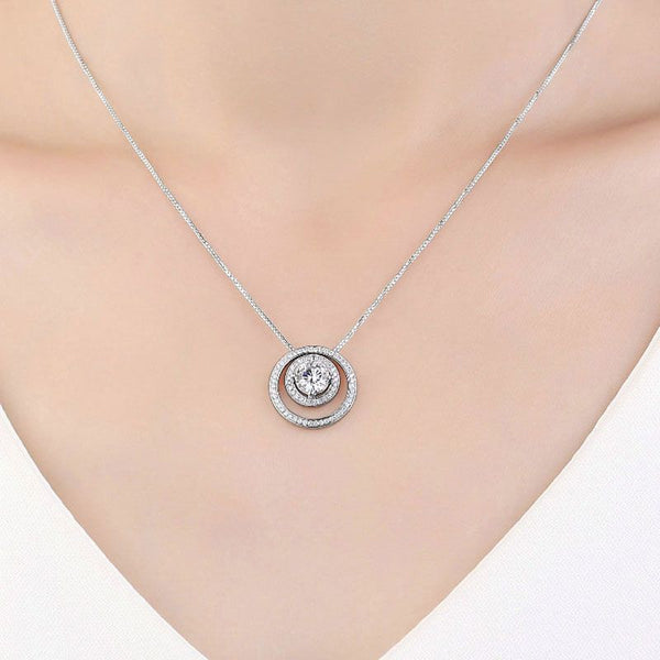 Double Halo 1.0CT Round Brilliant-cut Created White Sapphire Necklace