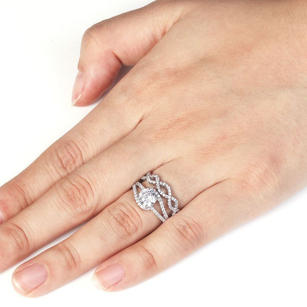 Pearl Claw Setting Split Shank White Sapphire Entwined Stone Band Sterling Silver Wedding Set