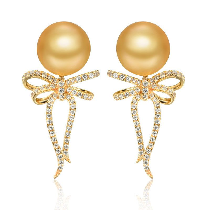 14K Rose Gold Bow Round Golden Pearls Hoop Earrings
