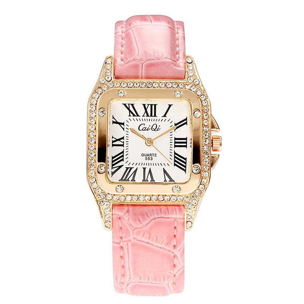 Fashion Elegant Square Bezel With Jeweled Accents Watch