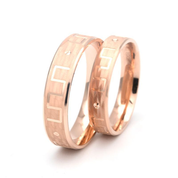 18K Rose Gold And White Gold Great Wall Couple Rings Wedding Band Shadow Carving Craft