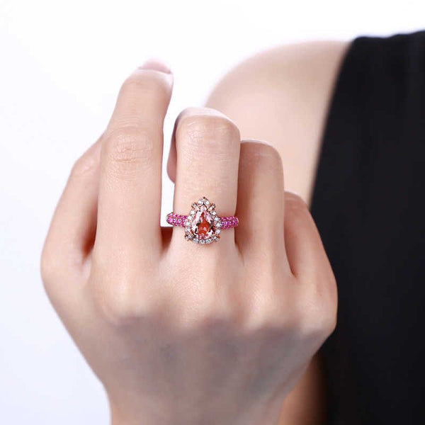 Briolette-Cut Halo Straight Band Pink Morganite Ring