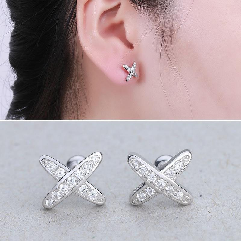 Cross Brilliant-cut Created White Sapphire Stud Earrings