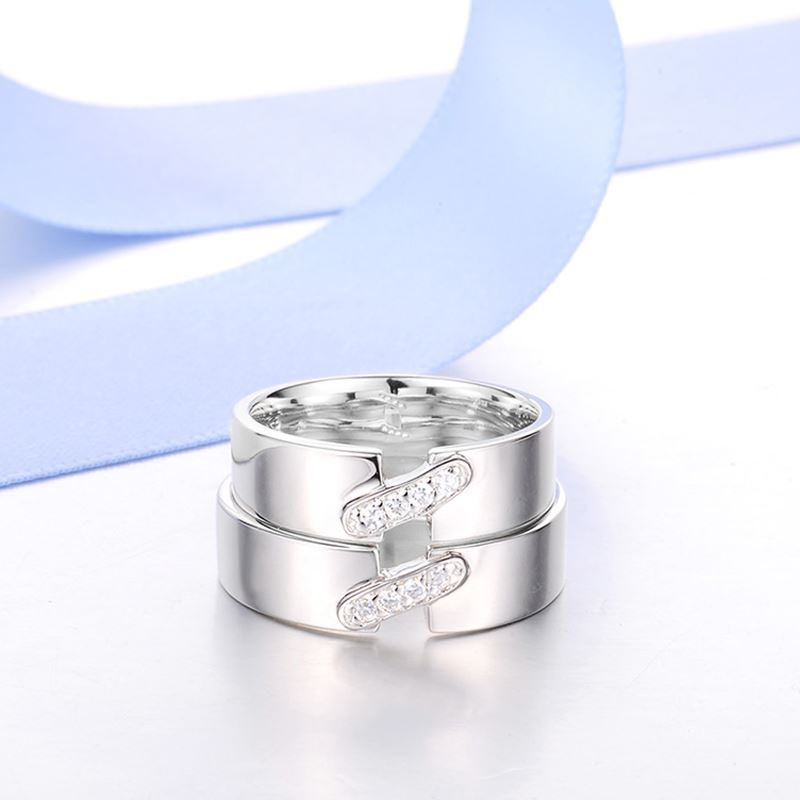 Three-Stone Created White Sapphire Wedding Band For Him