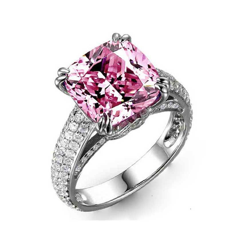 Cushion-cut Pink Sapphire 8ct Engagement Ring For Women