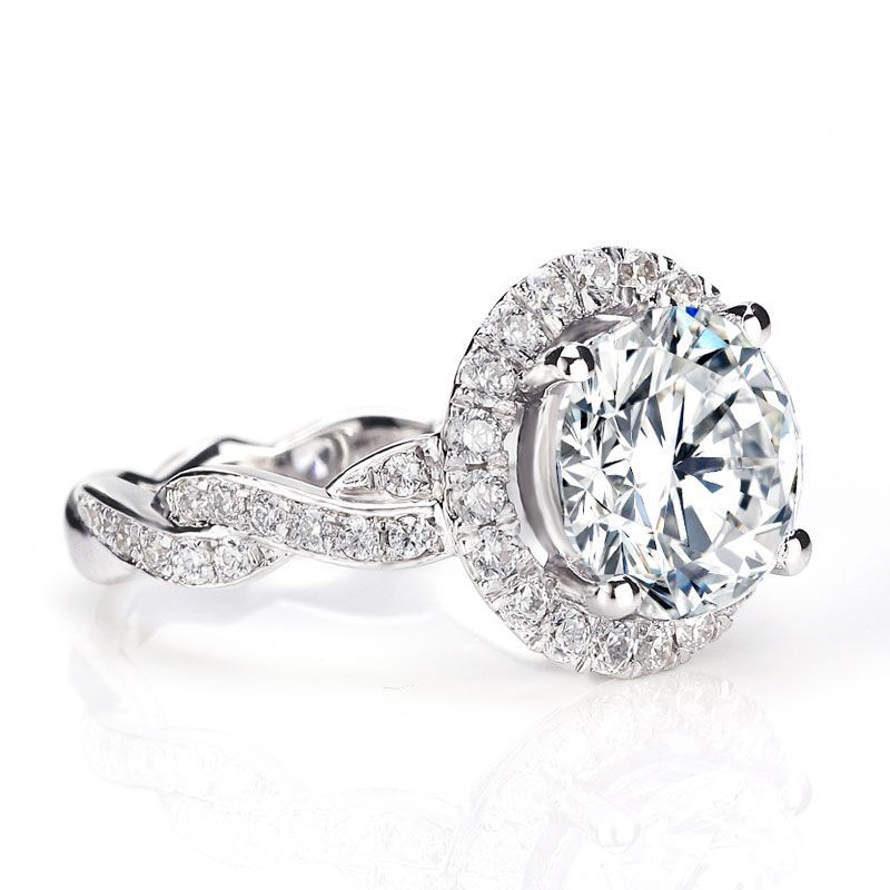 Twisted Shank Brilliant Cut Halo Sapphire Engagement Ring