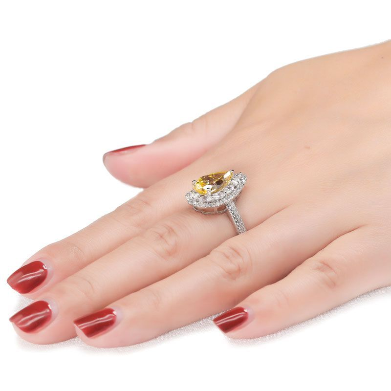Luxury Pear Cut Double Halo Ring
