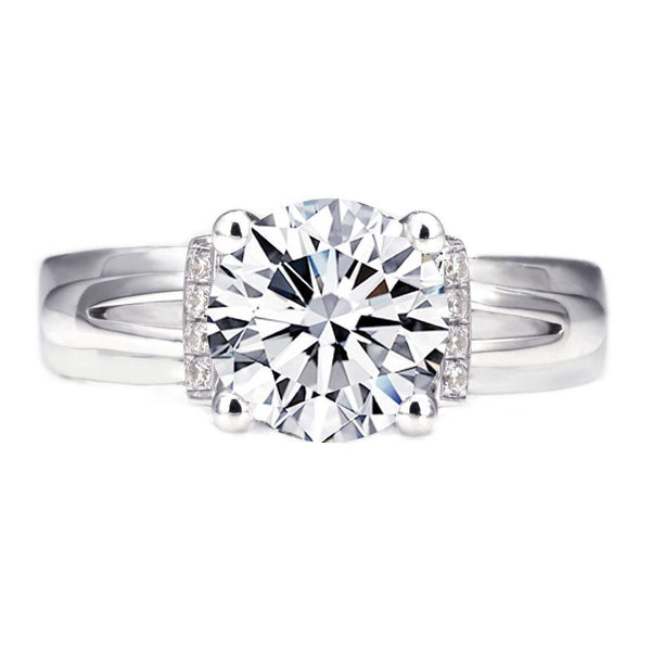 Classic Round Brilliant-cut 2.0ct Created White Sapphire Wide Shank Engagement Ring