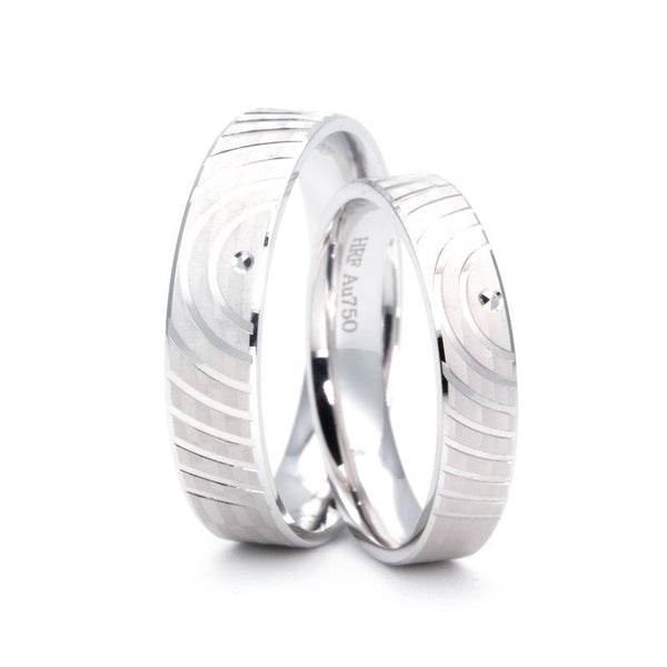 Fingerprint Band Shadow Carving Craft Couple Rings