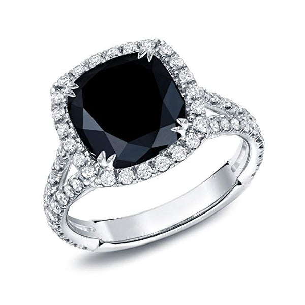 Halo Cushion Cut Split Set Black Sapphire Best Engagement Rings