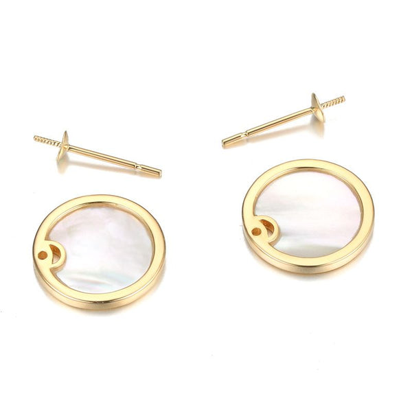 14K Rose Gold Tahitian Black Pearl And White Mother-Of-Pearl Stud Earrings For Women's