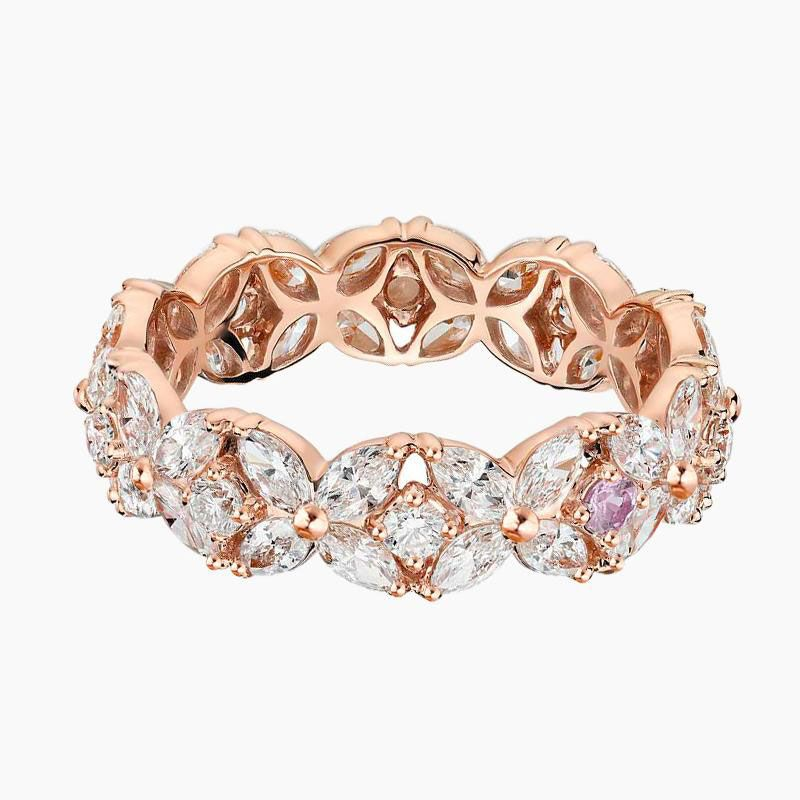 Rose Gold Flower Design Hollow Sterling Silver Band