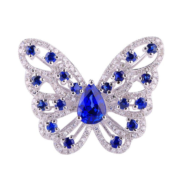 Butterfly Hollow Out Created Sapphire Sterling Silver Ring