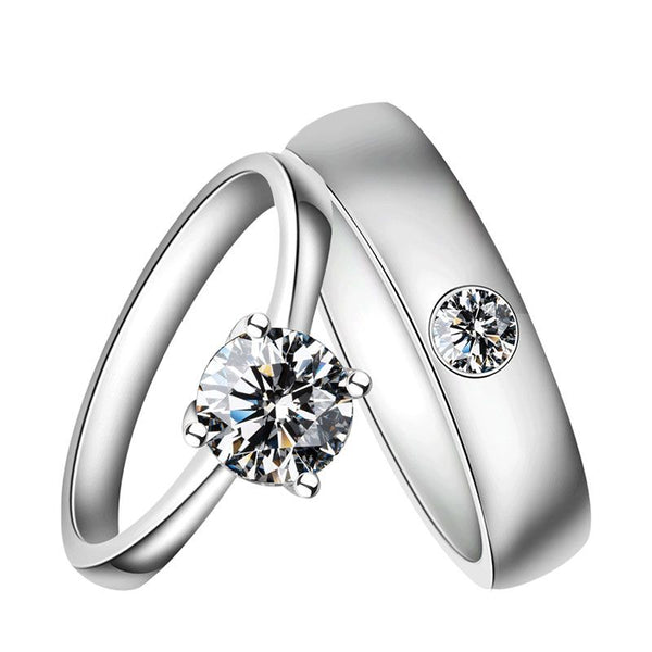 1.0ct Solitaire Round Cut Sterling Silver Couple Ring