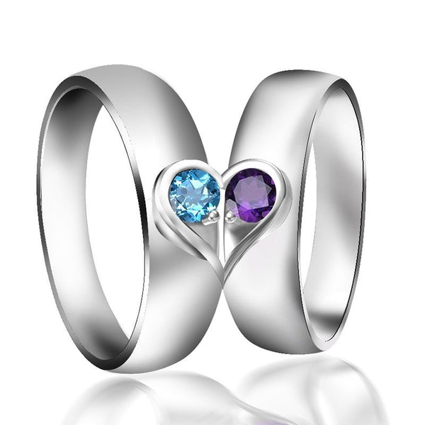 Heart Design Round Cut Sterling Silver Couple Ring