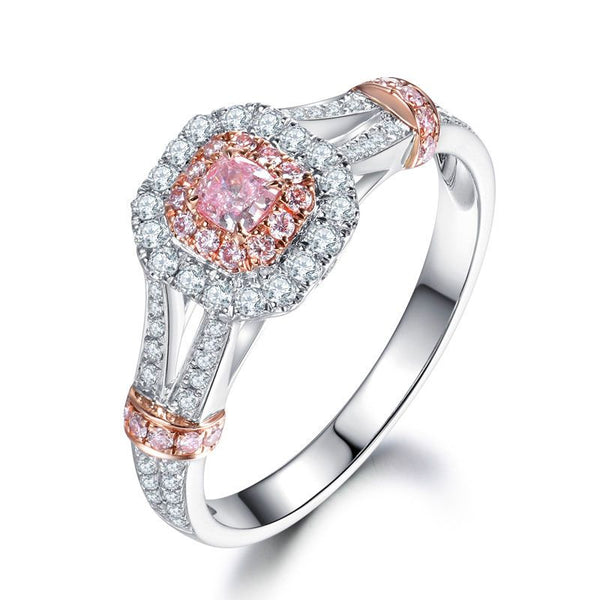 Halo Split Shank Knot Two Tone Cushion Cut Created Pink Sapphire Sterling Silver Ring