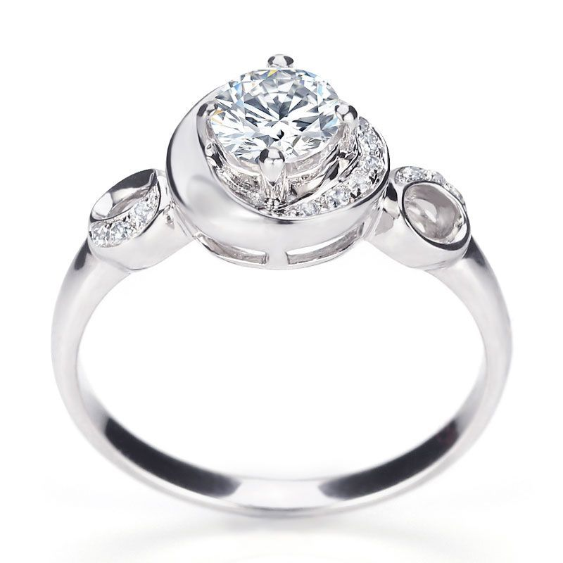 Galaxy Round Cut Created White Sapphire Sterling Silver Engagement Ring
