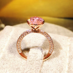 Pink Heart Cut Rose Gold Tone Sterling Silver Engagement Ring For Women