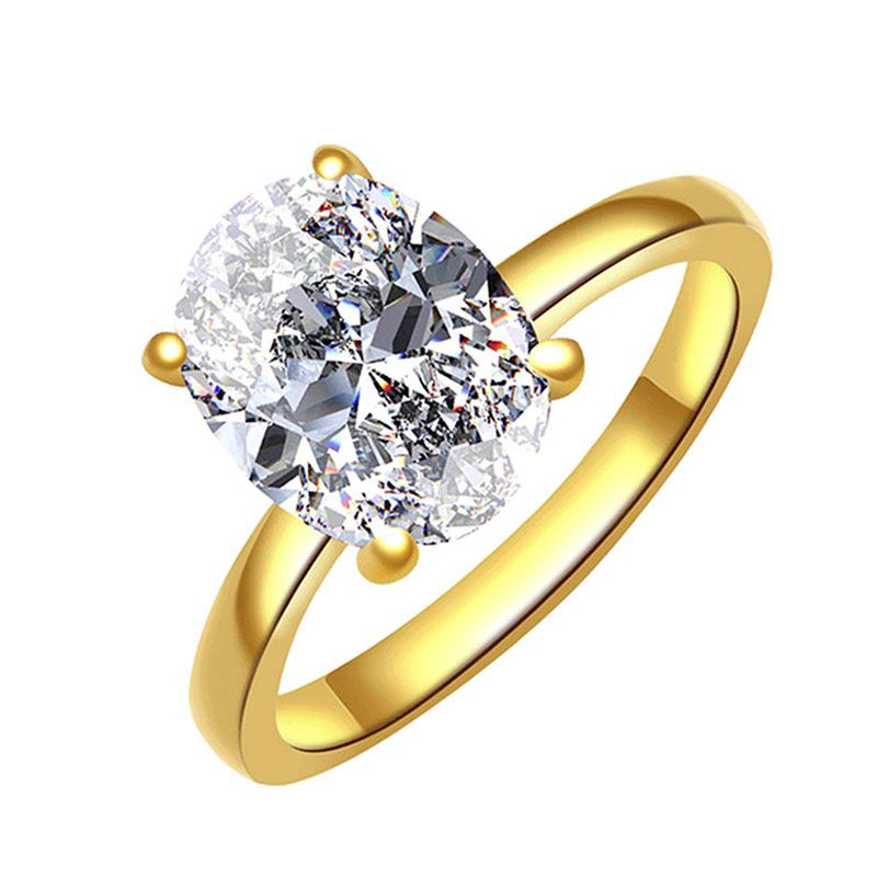 2.0CT Solitaire Yellow Gold Tone Sterling Silver Ring