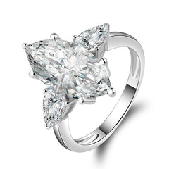 6.0CT Three Stone Marquise Cut Sterling Silver Ring