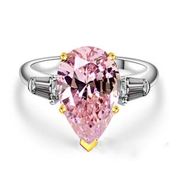 Two Tone Three Stone Pear Cut Created Pink Sapphire Sterling Silver Ring