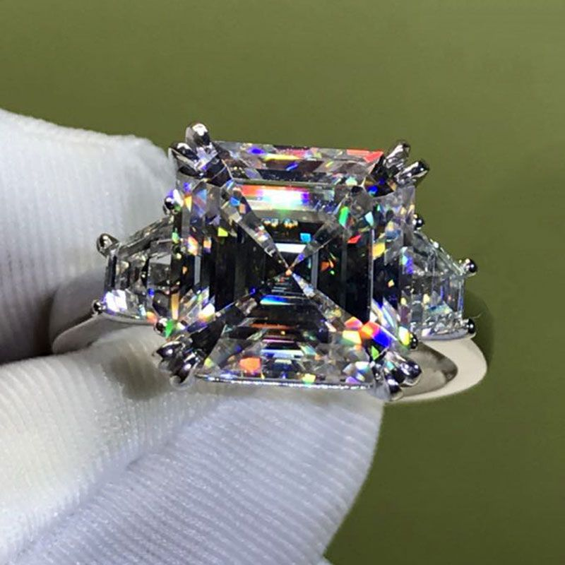 Three Stone Asscher Cut Created White Sapphire Sterling Silver Ring