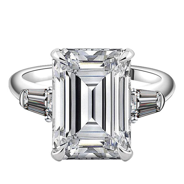5.0ct Three Stone Emerald Cut Created White Sapphire Sterling Silver Ring