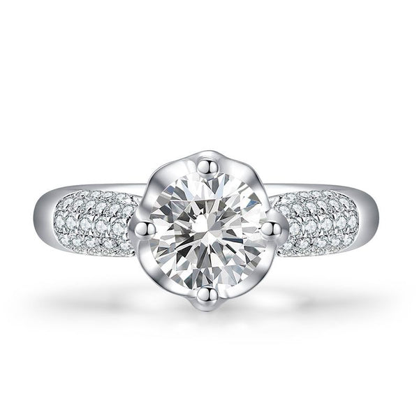 Classic Flower Four Claws White Sapphire Engagement Ring
