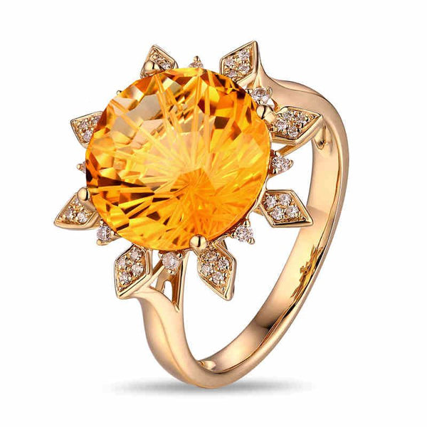 6.16CT Gold Tone Flower Design Sterling Silver Ring