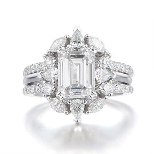 Halo Flower Shape Emerald Cut Created White Sapphire Ring Sets